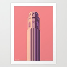 San Francisco Towers - 02 - COIT Tower (sunset version) Art Print