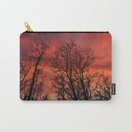 Naked trees silhouette on bloody clouds Carry-All Pouch