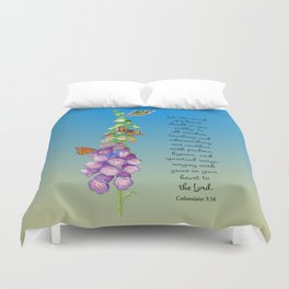 Colossians 3:16 Let the Word of Christ Dwell in you Richly Foxgloves Butterflies Watercolor Duvet Cover