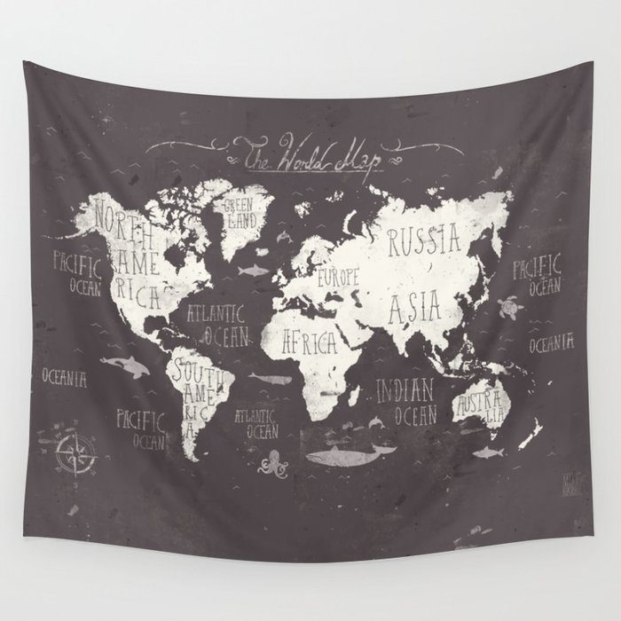 The World Map Wall Tapestry by mikekoubou on
