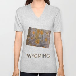 Wyoming map outline Yellow brown spots watercolor illustration Unisex V-Neck