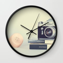 Film Camera and Pink Telephone (Retro and Vintage Still Life Photography) Wall Clock
