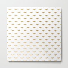 Golden Dragonfly Repeat Gold Metallic Foil on White Metal Print