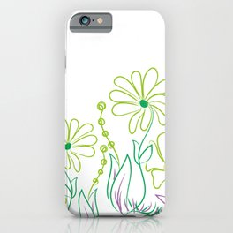 Floral drawing green purple daisy iPhone Case