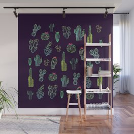 Dark Watercolour Cactus Wall Mural
