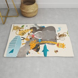 Kids Room Animals – Illustration for the sleeping room of girls and boys Rug