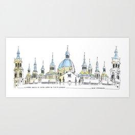 La Catedral-Basilica de Nuestra Senora del Pilar, Zaragoza Art Print