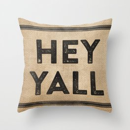 Burlap Hey Yall Throw Pillow