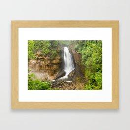 Miners Falls - Pictured Rocks Waterfall, Michigan Framed Art Print