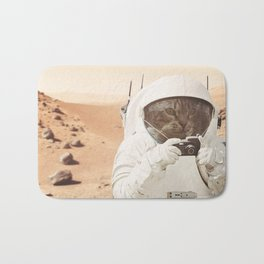 Astronaut Cat on Mars Bath Mat