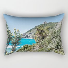 Beautiful azure sea and green bushes with flowers, Tyrrhenian sea in Tuscany, Italy Rectangular Pillow