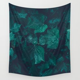 Dark emerald green ivy leaves water drops Wall Tapestry