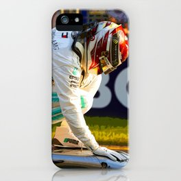 Lewis Hamilton thanking his car for pole position iPhone Case
