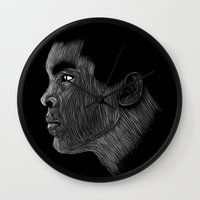 ali gulec Wall Clocks featuring Mohamed Ali by William