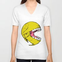 pac man V-neck T-shirts featuring Ancient Pac-man by Sauce Designs