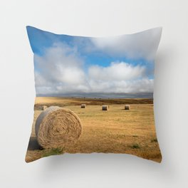 A Day on the Prairie - Round Hay Bales on Golden Landscape in South Dakota Throw Pillow