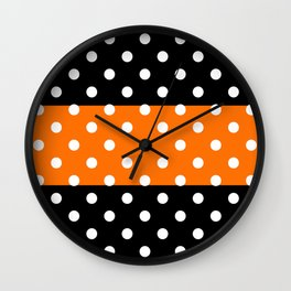 Extra Large White Polka Dots on Orange and Black Stripes Wall Clock