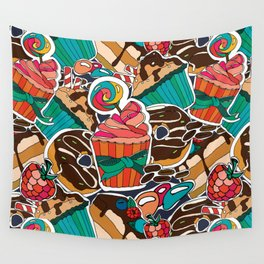 Pattern. Desserts, muffins, cupcakes, candies, cheesecake, chocolate, coffee. Wall Tapestry