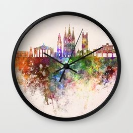 Cork skyline in watercolor background Wall Clock