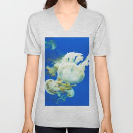 Blue Jellyfish Under the Sea Underwater Photography Saturated Pop Art Color Wall Art Unisex V-Neck