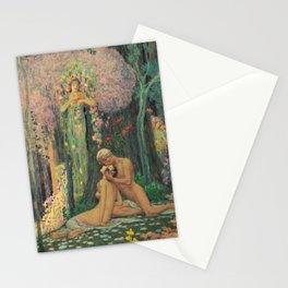 'A Man and a Woman in the Forest with Angels' Floral Landscape by Charles Holloway Stationery Cards