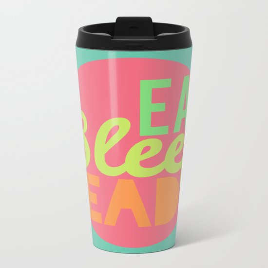 Eat. Sleep. Read Metal Travel Mug