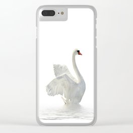 WHITE ON WHITE-BEAUTIFUL SWAN Clear iPhone Case