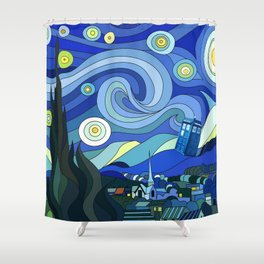Tardis Art Starry Night Shower Curtain