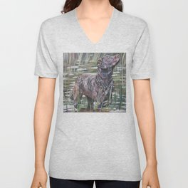 the Chesapeake Bay Retriever dog art from an original painting by L.A.Shepard Unisex V-Neck