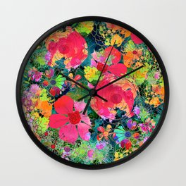 colorful floral composition Wall Clock