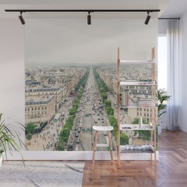 Aerial view of the Champs-Élysées in Paris, France Wall Mural