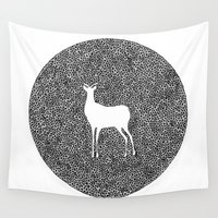 alisa burke Wall Tapestries featuring Deer Mandala 2 black-white by Anna Grunduls