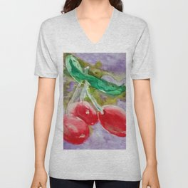 Red Cherries on Purple watercolor by CheyAnne Sexton Unisex V-Neck