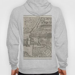 Vintage Map Print - 1602 edition of the 1566 map of the Battle of Szigetvár Hoody