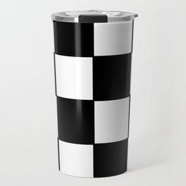 Checkered,black and white checked pattern.Gingham. Travel Mug