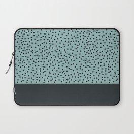 Dark navy dots on turquoise Laptop Sleeve