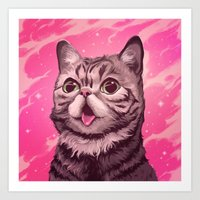 lil bub Art Prints featuring Fantasy in BUB Minor by Noelle McClanahan
