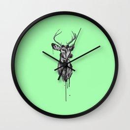 Deer Head III (mint green) Wall Clock
