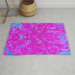 a near symmetry in violet and blue Rug