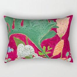 Magenta Jungle Painting, Monstera, Birds of Paradise Floral on Pink Jewel Tone Rectangular Pillow
