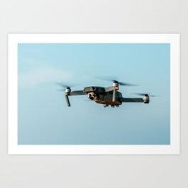 UAV Drone Quadcopter And Digital Camera Flying, Technology, Unmanned Aerial Vehicle, Drone Art Print