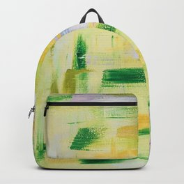 Blooming orchard: minimal, acrylic abstract painting in spring green and yellow / Variation Eight Backpack