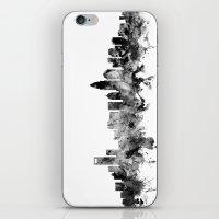north carolina iPhone & iPod Skins featuring Charlotte North Carolina Skyline by artPause