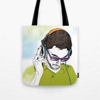 dj Tote Bags featuring DJ  by Vivian Gerber