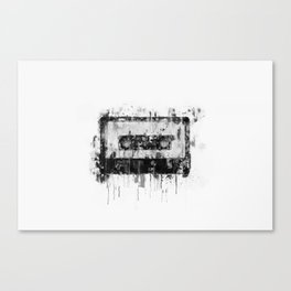 cassette / tape Illustration black and white painting Canvas Print