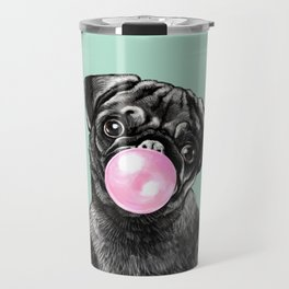 Bubble Gum Black Pug in Green Travel Mug