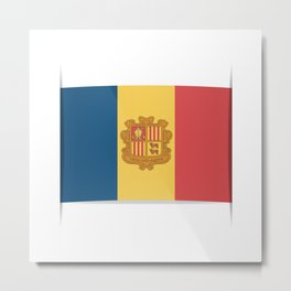 Flag of Andorra, officially the Principality of Andorra. Metal Print