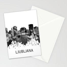 Ljubljana Slovenia Skyline BW Stationery Cards