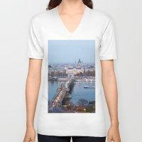 budapest V-neck T-shirts featuring Budapest at night by Jovana Rikalo