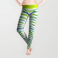 leaf Leggings featuring Palm Leaf – Green Palette by Cat Coquillette